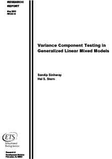 Variance Component Testing In Generalized Model