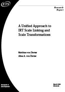 A Unified Approach To IRT Scale Linking