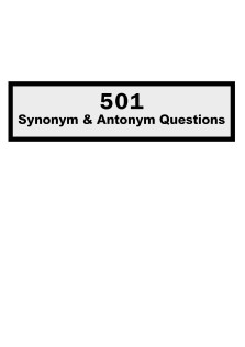 501Synonym and Antonym Questions