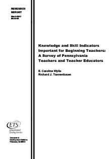 Knowledge And Skill Indicators Teacher