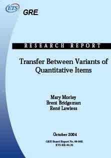 Transfer Between The Variants of Quantitative items