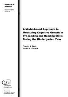 Measuring Cognitive Growth in Pre-Reading and Reading Skills