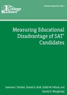Measuring Educational Disadvantage of SAT Candidates